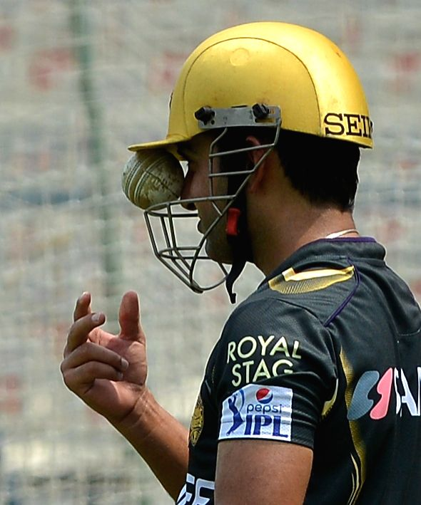 Kolkata Knight Riders captain Gautam Gambhir during a practice session at the Eden Gardens in Kolkata, on April 7, 2015. - Gautam Gambhir