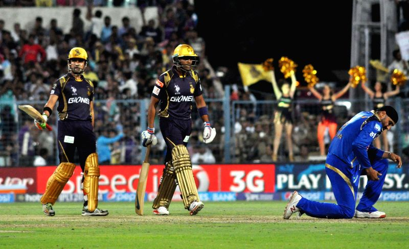 Kolkata Knight Riders captain Gautam Gambhir celebrates his half century during an IPL-2015 match between Kolkata Knight Riders and Mumbai Indians in Kolkata, on April 8, 2015. - Gautam Gambhir