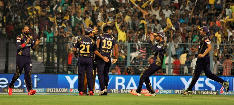 Kolkata Knight Riders celebrate fall of David Warner's wicket during an IPL 2015 match between Kolkata Knight Riders and Sunrisers Hyderabad at the Eden Gardens in Kolkata, on May 4, 2015.