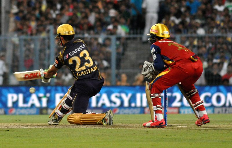 Kolkata Knight Riders (KKR) captain Gautam Gambhir in action during an IPL-2015 match between Kolkata Knight Riders (KKR) and Royal Challengers Bangalore (RCB) at Eden Gardens in Kolkata on ... - Gautam Gambhir