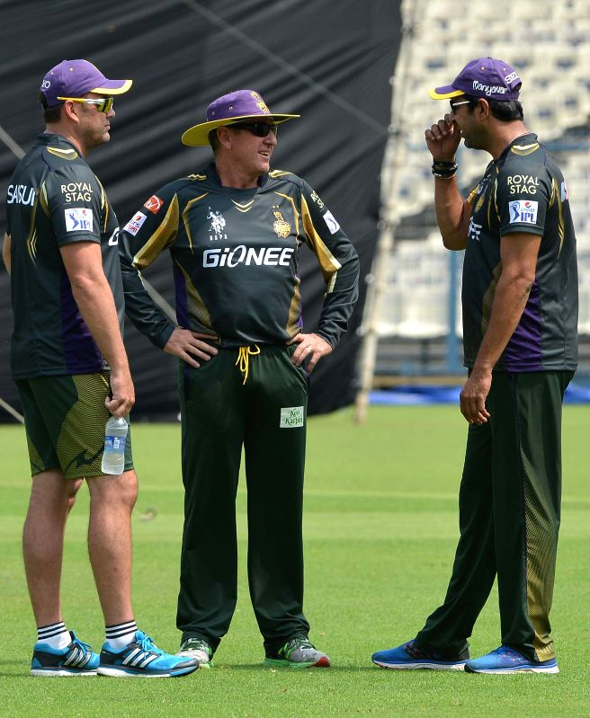 Kolkata Knight Riders (KKR) head coach Trevor Bayliss, KKR bowling coach Wasim Akram and KKR mentor Jacques Kallis during a practice session at the Eden Gardens in Kolkata, on April 7, 2015.