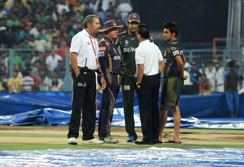 Kolkata Knight Riders (KKR) head coach Trevor Bayliss, bowling coach Wasim Akram and captain Gautam Gambhir at the Eden Gardens after rains disrupted an IPL-2015 match between Kolkata ... - Gautam Gambhir