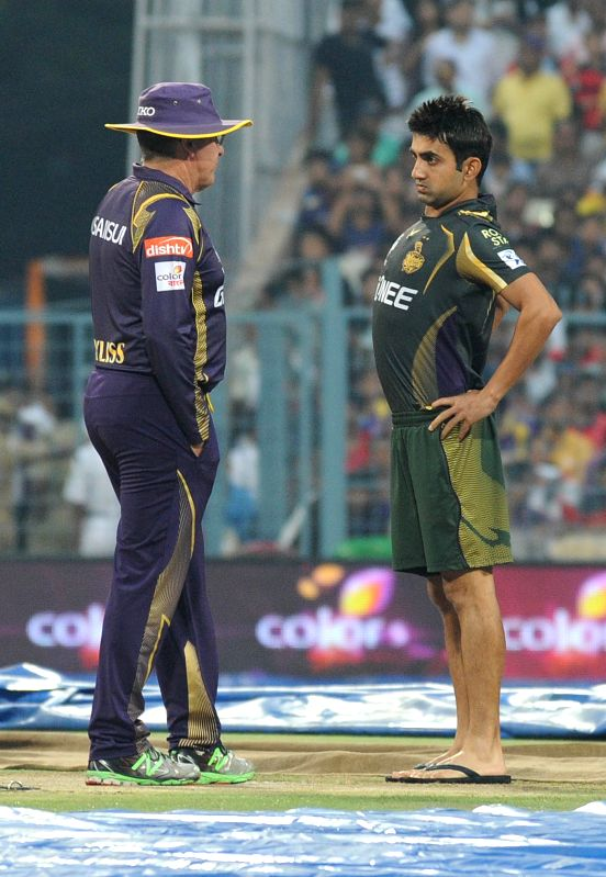Kolkata Knight Riders (KKR) head coach Trevor Bayliss and ​Kolkata Knight Riders captain Gautam Gambhir ​​at the Eden Gardens after rains disrupted an IPL-2015 match between Kolkata ... - Gautam Gambhir
