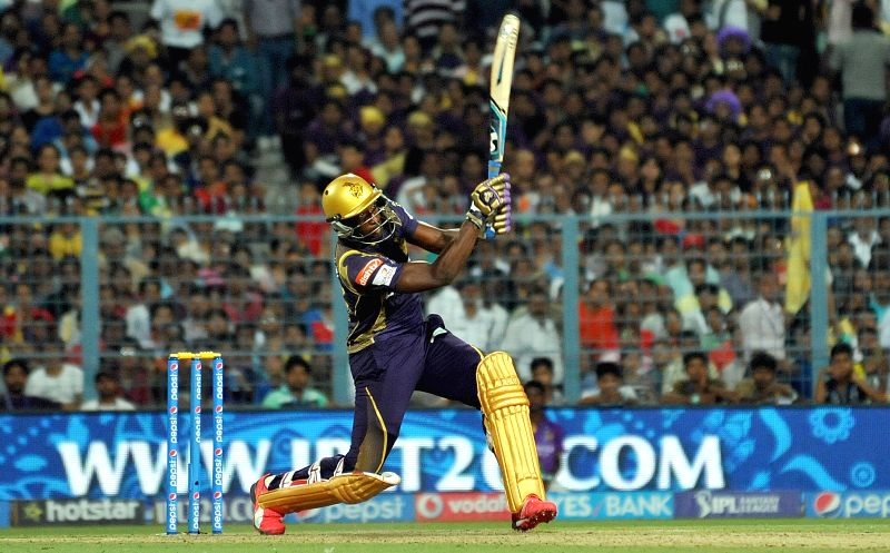 Kolkata Knight Riders (KKR) player Andre Russell in action during an IPL-2015 match between Kolkata Knight Riders (KKR) and Royal Challengers Bangalore (RCB) at Eden Gardens in Kolkata on ...