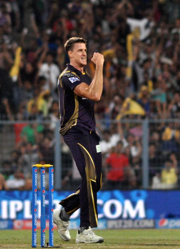 Kolkata Knight Riders (KKR) player Morne Morkel celebrate fall of a wicket during an IPL-2015 match between Kolkata Knight Riders (KKR) and Royal Challengers Bangalore (RCB) at Eden Gardens ...