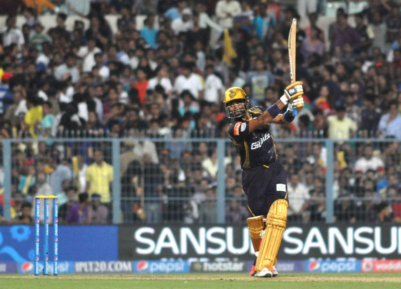 Kolkata Knight Riders (KKR) player Robin Uthappa in action during an IPL-2015 match between Kolkata Knight Riders (KKR) and Royal Challengers Bangalore (RCB) at Eden Gardens in Kolkata on ...