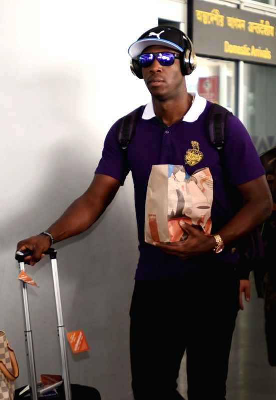 Kolkata Knight Riders player Andre Russell arrives at Netaji Subhas Chandra Bose Airport in Kolkata on May 3, 2015.