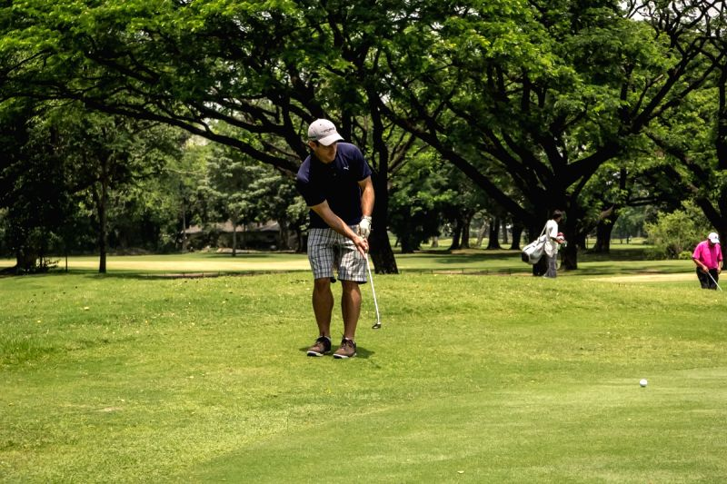 Kolkata Knight Riders player Ryan ten Doeschate enjoys Golf at Royal Calcutta Golf Course in Kolkata, on April 12, 2015.