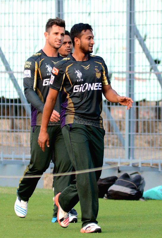 Kolkata Knight Riders player Shakib Al Hasan during a practice session for the upcoming IPL matches in Kolkata, on April 4, 2015.