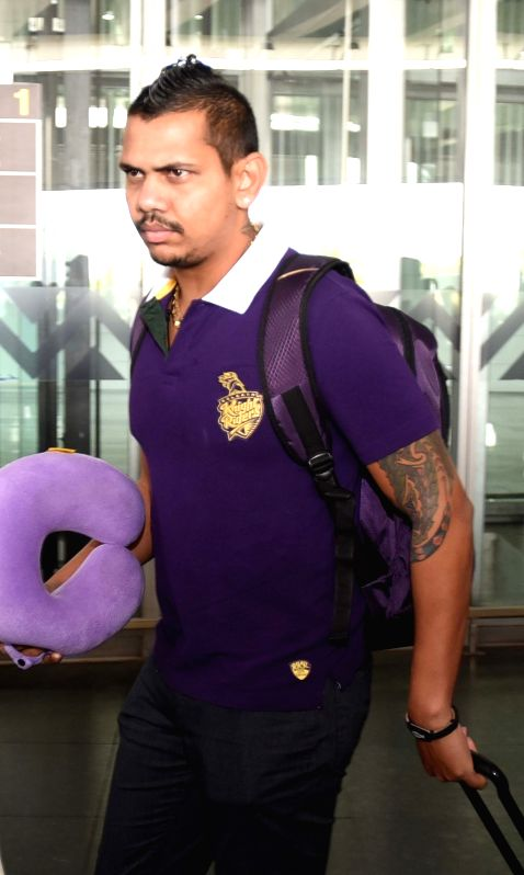 Kolkata Knight Riders player Sunil Narine arrives at Netaji Subhas Chandra Bose Airport in Kolkata on May 3, 2015.
