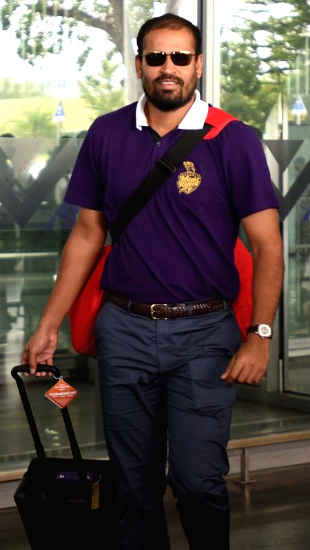Kolkata Knight Riders player Yusuf Pathan arrives at Netaji Subhas Chandra Bose Airport in Kolkata on May 3, 2015.