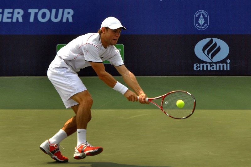 Kolkata: Moldova tennis player Radu Albot in action against Indian tennis player Yuki Bhambri during an Emami Kolkata Open 2015- ATP Challenger match in Kolkata on Feb 25, 2015.
