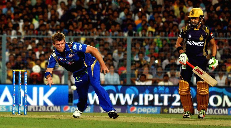 Kolkata: Mumbai Indians player Corey Anderson in action during an IPL-2015 match between Kolkata Knight Riders and Mumbai Indians in Kolkata, on April 8, 2015.