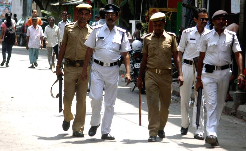 Kolkata Police conducts flag march a day after Kolkata Municipal Corporation polls in Kolkata, on April 19, 2015.