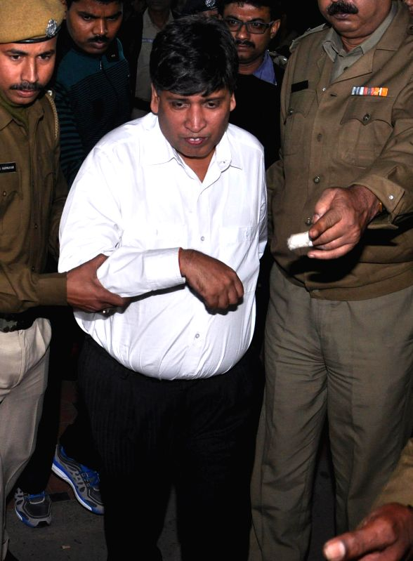 Lawyer Naresh Bhalotia comes out of CBI office after being arrested in connection with the multi-crore-rupee Sardha chit fund scam in Kolkata, on Dec 12, 2014.