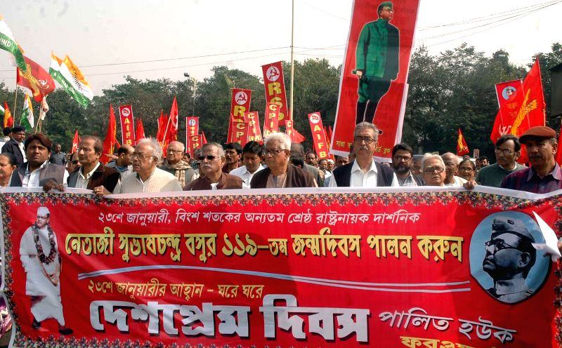 Left Front members participate in a rally organised on Netaji Subhas Chandra Bose's on his birth anniversary in Kolkata, on Jan 23, 2015.