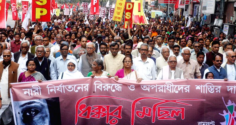 Leftist leader led by Left Front Chairman Biman Bose participate in a protest rally against a host of issues including rise in crime against women and deteriorating law and order situation .. - Biman Bose