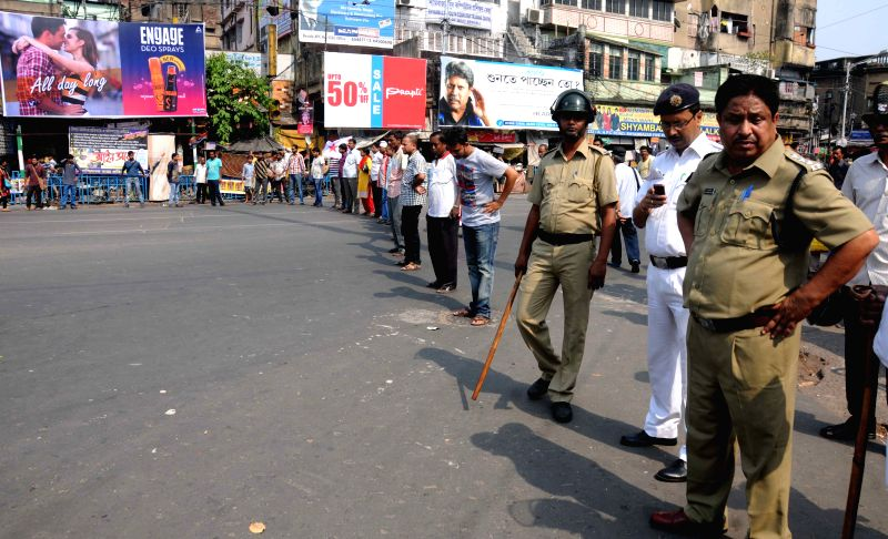Leftist students stage a road block at Shyambazar five point crossing in Kolkata, on April 3, 2015.
