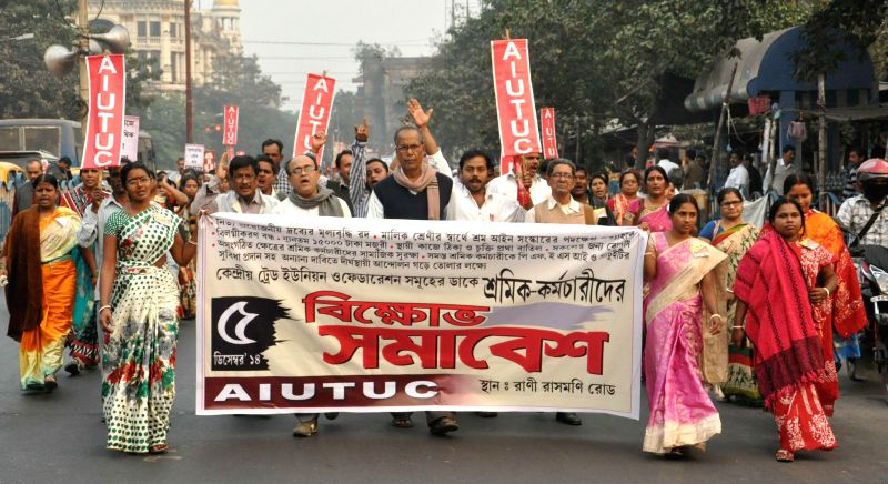 Leftist Trade Union activists participate in a protest rally against West Bengal government in Kolkata, on Dec 5, 2014.