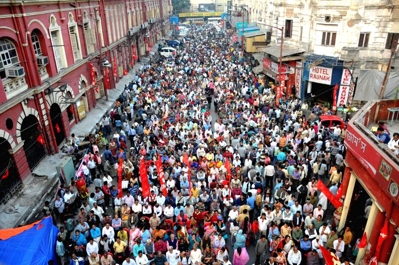 Leftists participate in a rally organised against lack of proper amenities in front of KMC Office in Kolkata, on Nov 27, 2014.