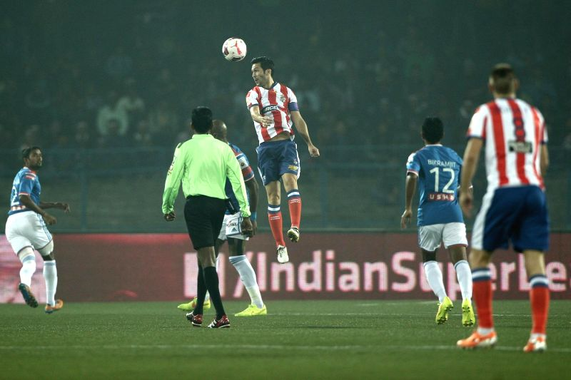 Luis Garcia of Atletico de Kolkata in action during an ISL semi-final match between Atletico de Kolkata and FC Goa in Kolkata, on Dec 14, 2014.