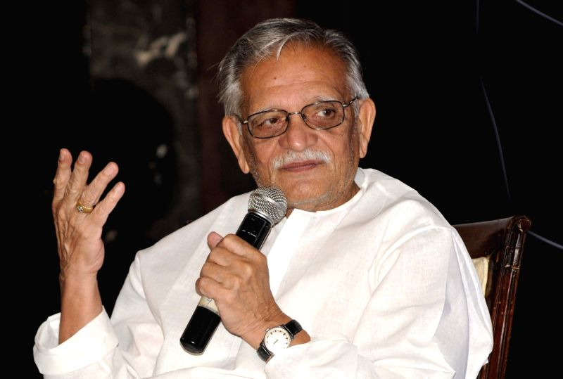 Lyricist and filmmaker Gulzar addresses during a programme in Kolkata on May 2, 2015.