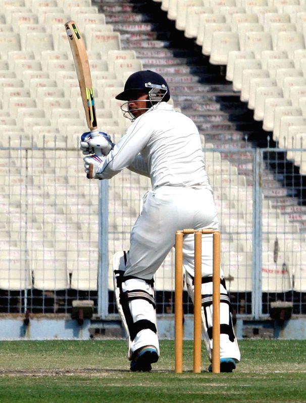 Maharashtra batsman Chirag Khurana in action during a Ranji Trophy Semi Final match between Tamil Nadu and Maharashtra at Eden Gardens in Kolkata on Feb 28, 2015. - Chirag Khurana