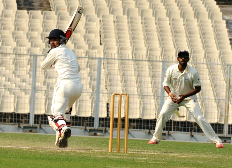 Maharashtra batsman Swapnil Gugale in action during a Ranji Trophy Semi Final match between Tamil Nadu and Maharashtra at Eden Gardens in Kolkata on Feb 27, 2015. - Swapnil Gugale