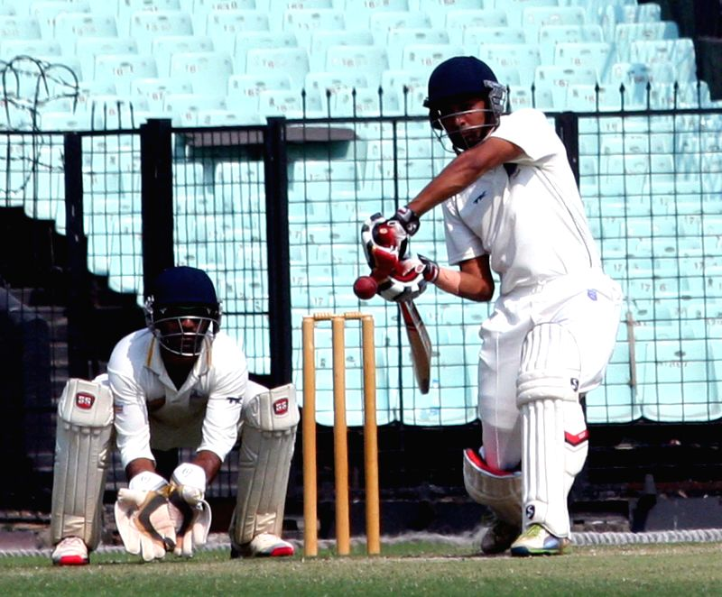 Maharashtra batsman Swapnil Gugale in action during a Ranji Trophy Semi Final match between Tamil Nadu and Maharashtra at Eden Gardens in Kolkata on Feb 28, 2015. - Swapnil Gugale