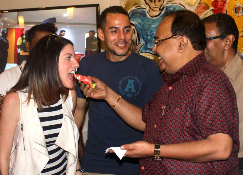 Kolkata Mayor Sovan Chatterjee East Bengal footballer Leo Bartosh (from New Zealand) during inauguration of `Football Cafe` at East Bengal tent in Kolkata on Aug 18, 2014.