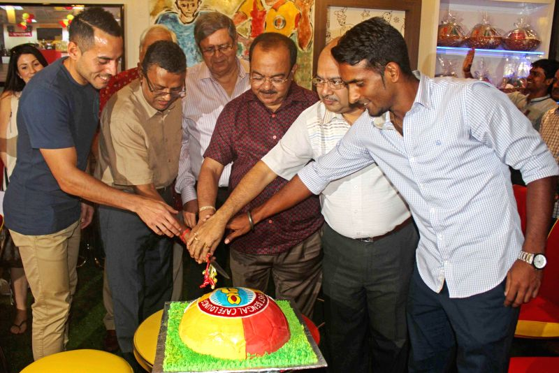 Kolkata Mayor Sovan Chatterjee with East Bengal footballers Leo Bartosh (from New Zealand), Harmanjot Khabra and Subrata Dutta from AIFA during inauguration of `Football Cafe` at East Bengal tent in . - Mayor Sovan Chatterjee