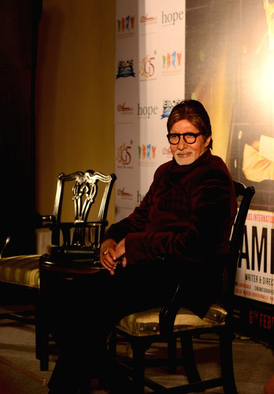 Megastar Amitabh Bachchan during promotion of upcoming film 'Shamitabh' in Kolkata on Jan 24, 2015. (PHOTO : IANS ) - Megastar Amitabh Bachchan