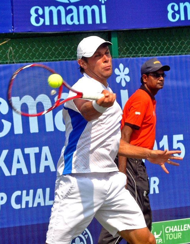 Moldova tennis player Radu Albot in action against James Duckworth of Australia during an Emami Kolkata Open 2015- ATP Challenger final match in Kolkata on Feb 28, 2015. Radu Albot won the ...