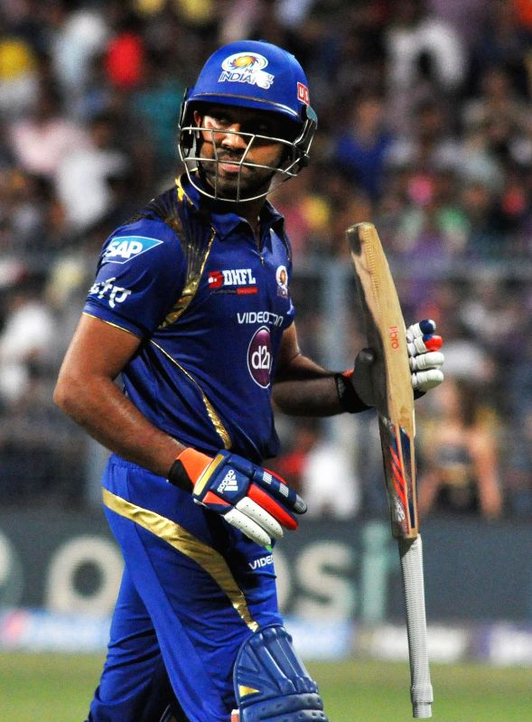 Mumbai Indians batsman captain Rohit Sharma during an IPL-2015 match between Kolkata Knight Riders and Mumbai Indians in Kolkata, on April 8, 2015. - Rohit Sharma