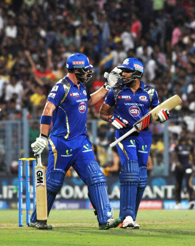 Mumbai Indians batsmen Corey Anderson and Rohit Sharma during an IPL-2015 match between Kolkata Knight Riders and Mumbai Indians in Kolkata, on April 8, 2015. - Rohit Sharma