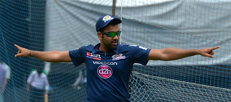 Mumbai Indians (MI) captain Rohit Sharma during a practice session at the Eden Gardens in Kolkata, on April 7, 2015. - Rohit Sharma