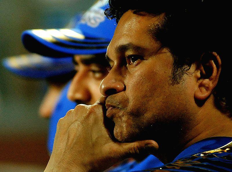 Mumbai Indians' team icon Sachin Tendulkar during an IPL-2015 match between Kolkata Knight Riders and Mumbai Indians in Kolkata, on April 8, 2015. - Sachin Tendulkar