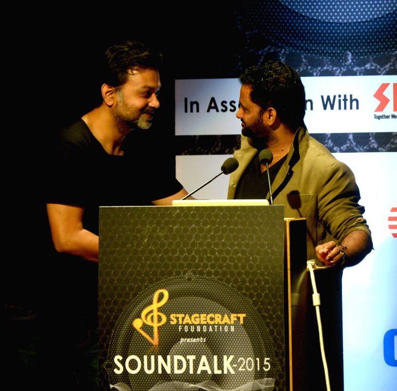 National award winning director Srijit Mukherjee with Oscar-winner sound designer Resul Pookutty during `Sound Talk 2015` - a seminar, in Kolkata on March 30, 2015. - Srijit Mukherjee