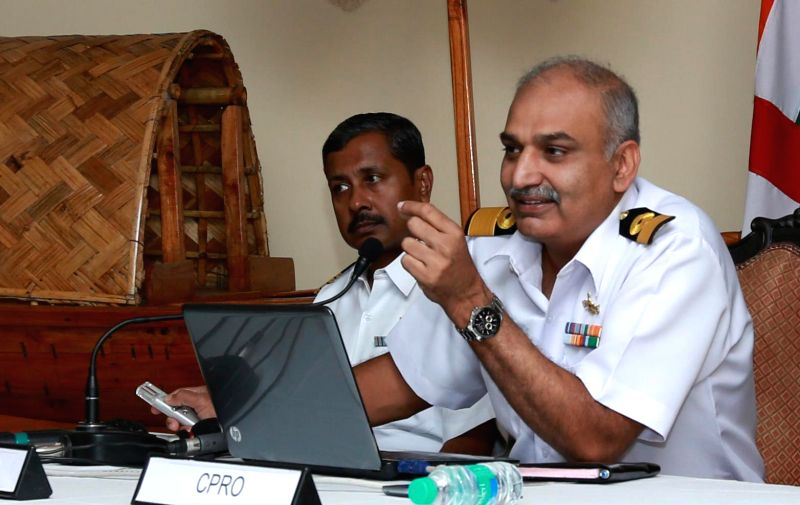 Naval Officer-in-Charge of West Bengal Commodore Ravi Ahluwalia interacts with press aboard INS Netaji Subhash in Kolkata, on Dec 3, 2014.