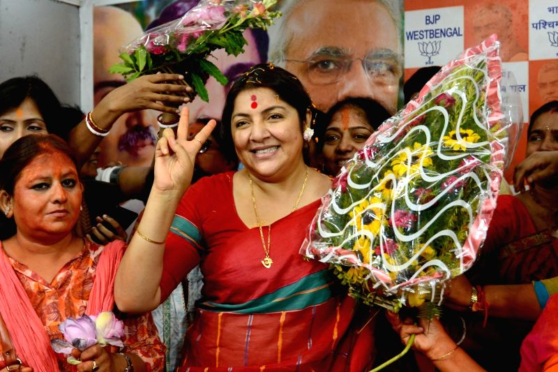 Kolkata: Newly elected BJP MP from Hooghly, Locket Chatterjee during a felicitation programme at the state party headquarters in Kolkata, on May 24, 2019. (Photo: Kuntal Chakrabarty/IANS)
