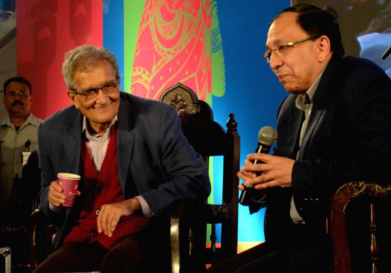 Nobel laureate Amartya Sen and Trinamool Congress MP Sugata Basu at Kolkata Literary Meet in Kolkata, on Feb 8, 2015. - Sugata Basu