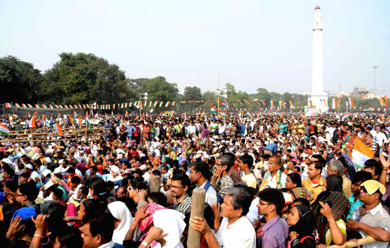 People gather at a rally organised by Trinamool Congress youth wing in Kolkata, on Dec 1, 2014.