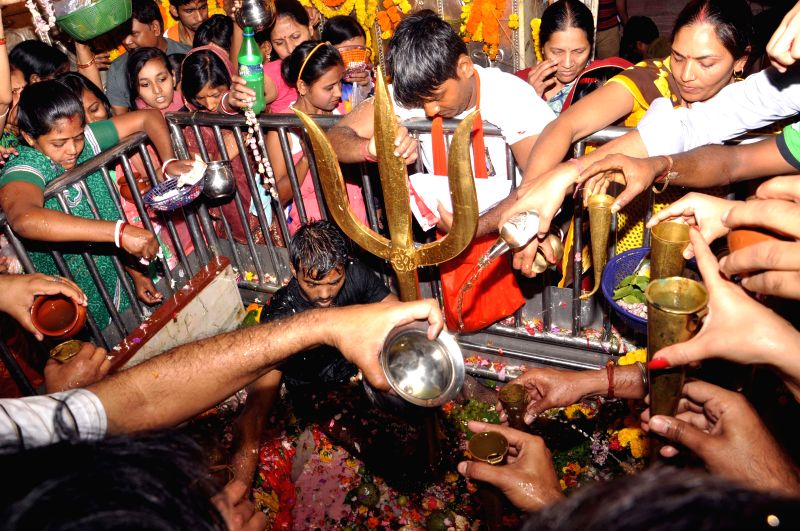 People in large numbers throng Bhootnath temple on Mahashivratri in Kolkata, on Feb 17, 2015.