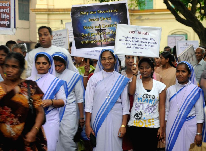 People participate in an Easter rally in Kolkata, on April 5, 2015.