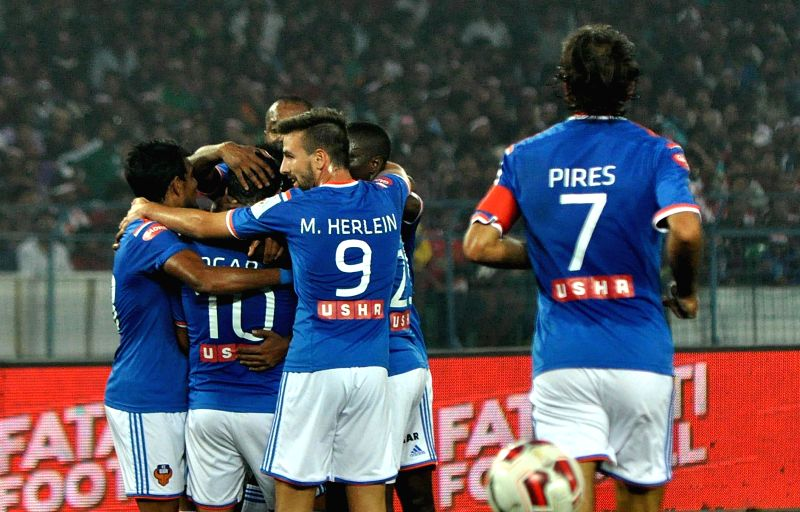 Players in action during an ISL match between Atletico de Kolkata and FC Goa in Kolkata, on Dec 10, 2014.