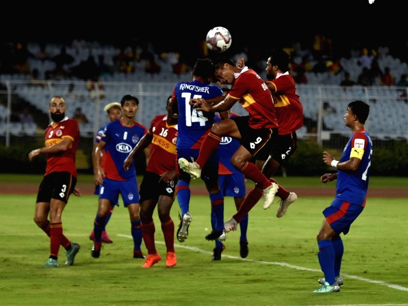 Kolkata: Players in action during Durand Cup match between East Bengal and Bengaluru FC in Kolkata on Aug 14, 2019. (Photo: IANS)