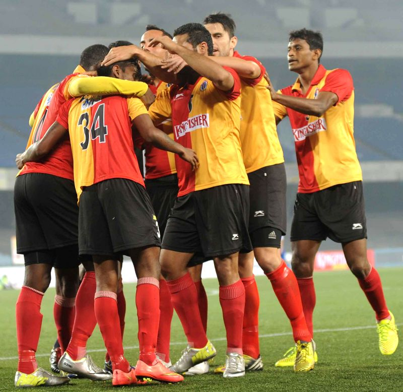 Players in action during East Bengal vs Bengaluru FC I-League match at Salt Lake stadium on Jan. 28, 2015. East Bengal won the match 1-0.
