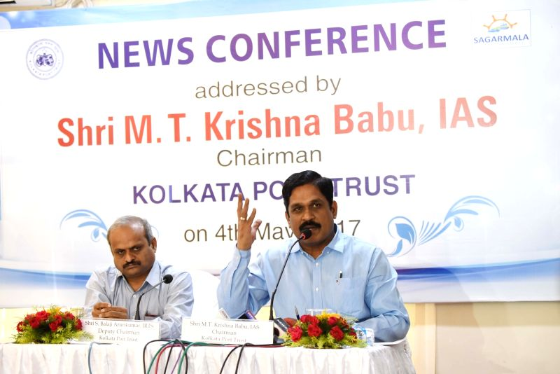 Kolkata Port Trust Chairman M.T.Krishna Babu addresses a press conference in Kolkata on May 4, 2017.