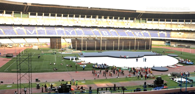 Preparations for IPL opening ceremony underway at Salt Lake Stadium in Kolkata, on April 4, 2015.