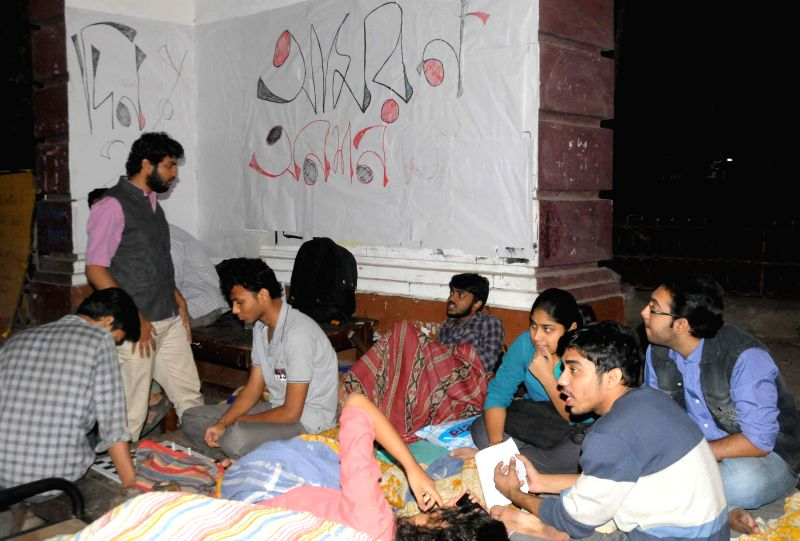 Presidency University students participate in an indefinite hunger strike regarding their attendance at university campus in Kolkata, on Nov 23, 2014.